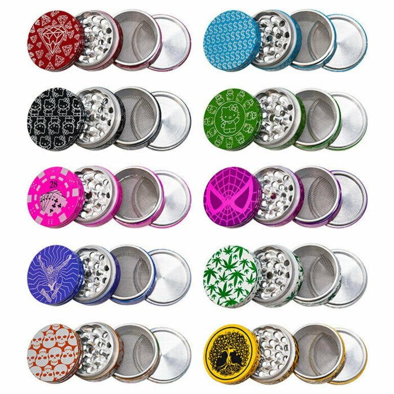 ADD ON - ASSORTED PICTURED ALUMINIUM 4 PIECE GRINDERS 50 mm
