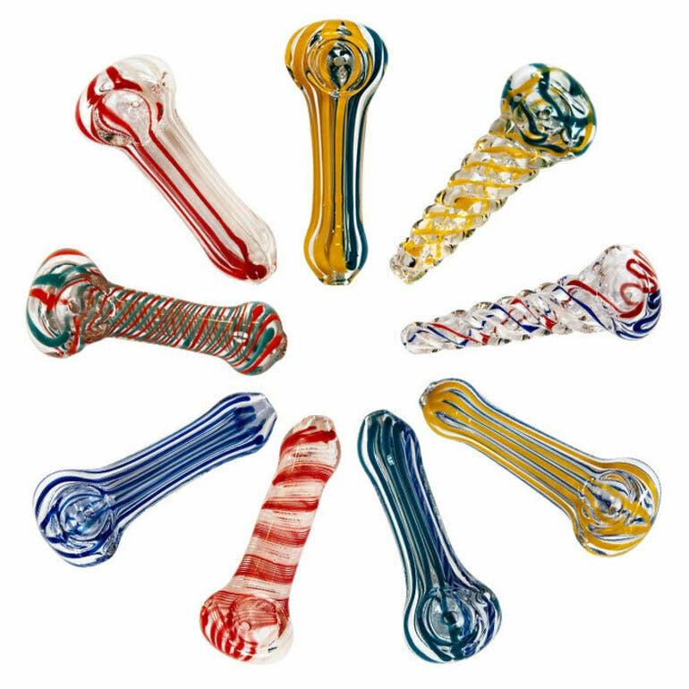"""ADD ON – 3"""" MULTI COLOR INSIDE OUT GLASS SMOKING PIPE"""