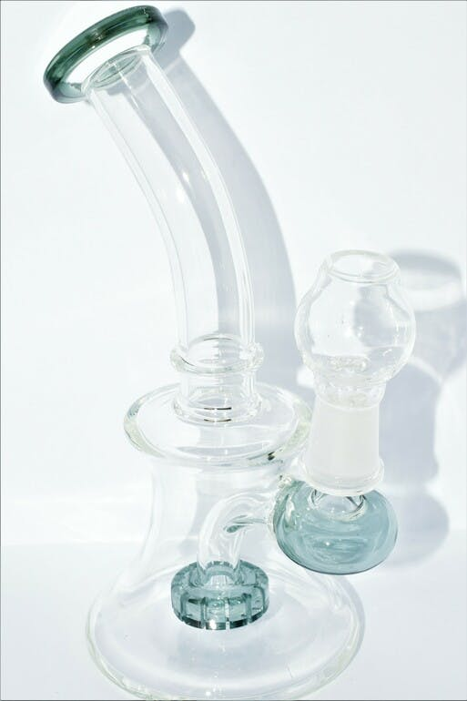 """ADD ON – 7"""" GLASS BELL BUBBLER OIL RIG WITH GLASS NAIL AND DOME"""